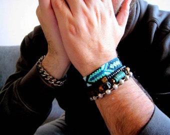 Friendship Bracelet. man bracelet. Aztec  Turquoise  & Black. wayuu bracelet