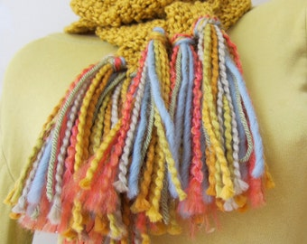 Gold Cotton Spring Summer Skinny Scarf with Rainbow Multicolored Fringe