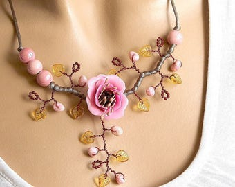 Pink floral and yellow Topaz necklace