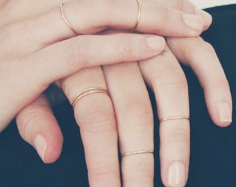 Gold stacking rings - delicate stack ring - 3 pieces ring set