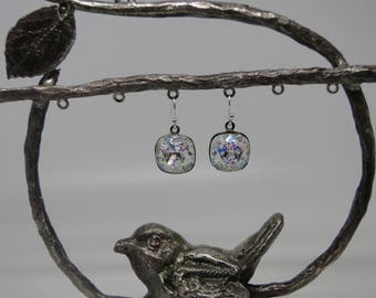 "Earrings in 925 sterling silver and Swarovski Crystal ""white patina"""