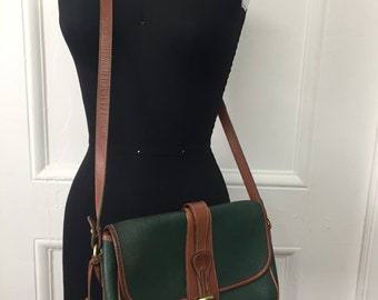 Vintage Forest Green Dooney And Bourke Crossbody Bag, Green Pebbled Leather & British Tan Trim