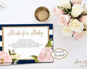 INSTANT DOWNLOAD - Books for Baby Card Navy Stripe Pink Floral - Baby Shower Bring a Book Instead of Card Insert - In lieu of a card 0126