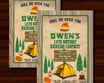 Camping Invitation, Camping Party Invitation, Camping Birthday Invitation, Camp Out Invitation, Digital Printable Invitation