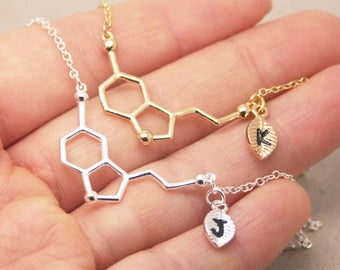 Serotonin Necklace, personalized initial necklace, chemistry necklace, science necklace, geometry necklace, graduation necklace NB749