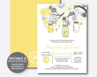 Instant Download, Editable Mason Jar Baby Shower Invitation, Mason Jar Invitation, Yellow Mason Jar Invitation, Baby Sprinkle (SBS.90)