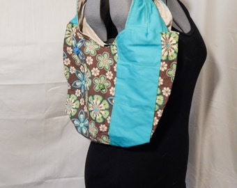 Floral Print Purse, Bright Blue and Brown