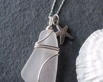 Sea Glass Jewelry Sea Glass Necklace Beach Glass with Starfish Charm