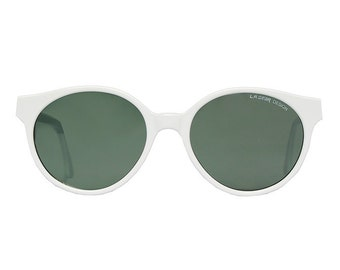 vintage white sunglasses - round sun glasses for men - original 1980s eyewear - great gift for him - la gear private dancer