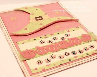 Halloween Card - Dreaming of Halloween - Handmade Witch Hat Halloween Greeting Card