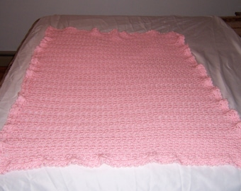 Baby - Afghan - Pink--One of a Kind - Original design- Hand Crocheted - SHIPS FREE!!!