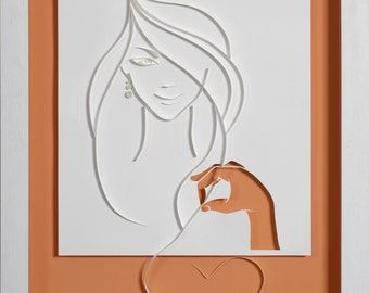 I LOVE YOU IMAGINE -   Paper cut and quilling - photographic reproduction art card