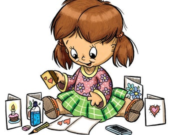 Little Girl Rubber-Stamping (DIGI STAMP)