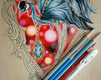 Video Tutorial Coloring Class: PanPastel, Prismacolor, Red Bokeh Background w/ Crowned Majesty PDF, Black Crowned Crane, digital download
