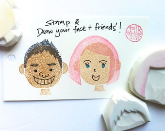 diy face rubber stamp set | boy & girl rubber stamps | doodle face | birthday christmas card making | hand carved by talktothesun | set of 3