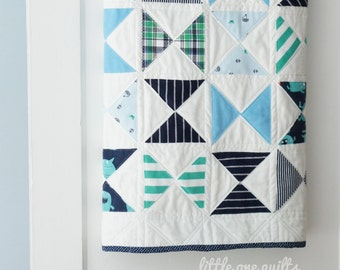 Modern Hourglass Memory Quilt | Baby Clothes Quilt | Modern Memory Quilt