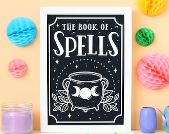 Book of Spells Print. Witchcraft and Wizardry. Cauldron Print. Witchcraft. Witch. Pagan. Wiccan. Book of Shadows. Magic Textbook. Spellbook