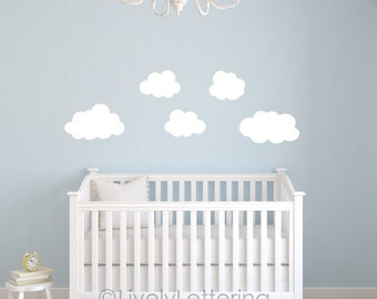 Puffy Cloud Decals (set of 5), Cloud wall decals, Nursery wall stickers, Bedroom wall art, Childrens wall decals, Boys Girls Kids playroom