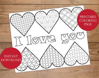 Valentine Coloring Page - I love you Coloring Page - Heart Coloring Page - adult coloring