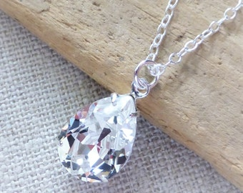 Clear Diamond Swarovski Crystal Necklace, Clear Teardrop Sterling Silver Necklace, Bridal Necklace, Bridal Jewelry, Crystal Pear Rhinestone