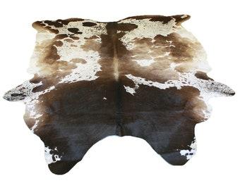Glacier Wear Longhorn Cow Hide Leather Hair-On Rug #076