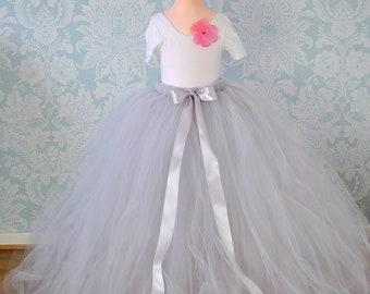 Long Grey Tutu, Flower Girl Tutu , Girls Tutu Skirt, Flower Girl Dress, Silver Grey Tutu, Full Length Tutu, Tulle Skirt, Bridesmaid Tutu