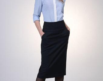 Navy Wool High Waist Pencil Skirt with Pocket, Navy Wool Skirt, Office Skirt, Winter Pencil Skirt, Tailored Skirt, Suit Skirt, Work Skirt