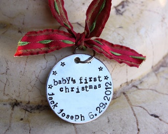 Baby's First Christmas Ornament, Hand stamped