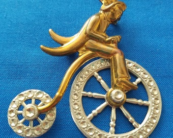 Bicycle Rider Gold Toned Brooch
