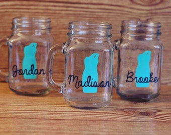 set of 3 bridesmaid glasses, set of 3 bridesmaid mason jars, bridesmaid gifts, bridesmaid glasses, mason jar mugs, bridesmaid mason jars
