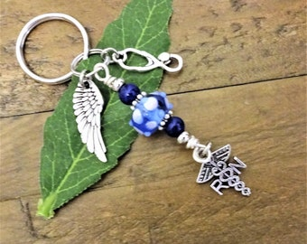NURSE KEYCHAIN with caduceus, angel wing, stethoscope, blue lampwork beads - rn, lpn, pa, np, bsn, ma - see all photos for choices
