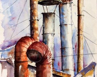 Watercolor original painting - Chimneys in the huddle (jail roof rust purple blue sky landscape)