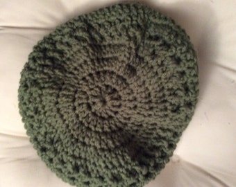 Green beret crocheted hat