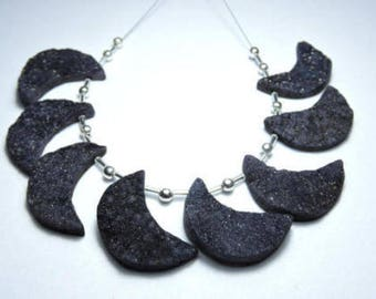 8 Pieces Extremely Beautiful Natural Sparkling Black Druzy Moon Shape Bead Size 31 MM