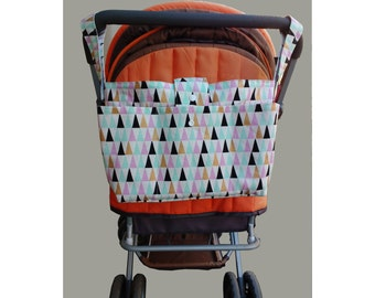 Wheelchair bag organiser-new mother gift - stylish pram caddy - stroller organiser - pram bag - pram organiser- multicolour triangles