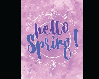 Hello Spring Print / 5x7 print / Watercolor Print / Purple / Blue / Easter / Spring / Digital Download