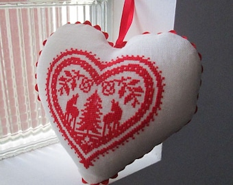 Embroidered heart with cross stitch