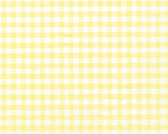 Easter Paper Napkins Yellow Gingham, Easter table Decor  - Individual Packages or Case Discount - Vichy Light Yellow