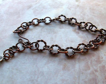 Antique Copper Ankle Bracelet, Copper Anklet, 9.75 Inches Long with Your Choice of Clasp Previously Twenty Dollars ON SALE