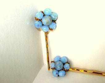 Periwinkle Blue, Gold Bobby Pin, Blue Bobby Pin, Retro Hair, Pinup Girl Hair,  Hair Jewelry, Set (2)