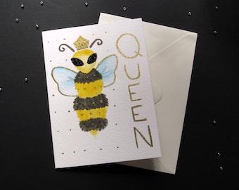 Bee Greetings Card - A6 - Queen Bee Card - Glittery Bee
