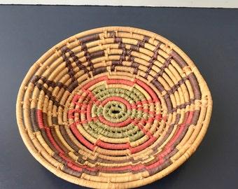 vintage basket coil wrapped Mexico souvenir boho southwestern wall basket