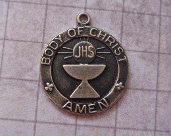 Vintage 925 Sterling Silver 1st Communion Charm or Pendant