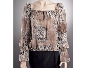 2 STYLES Sheer BLOUSE US size 6-10 with beautiful pattern, Long sleeve Blouse, Off shoulder Blouse