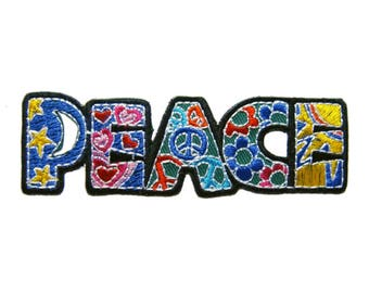 Peace Boho Iron On Patch Peace Sign Embroidered Applique Patches For Jackets