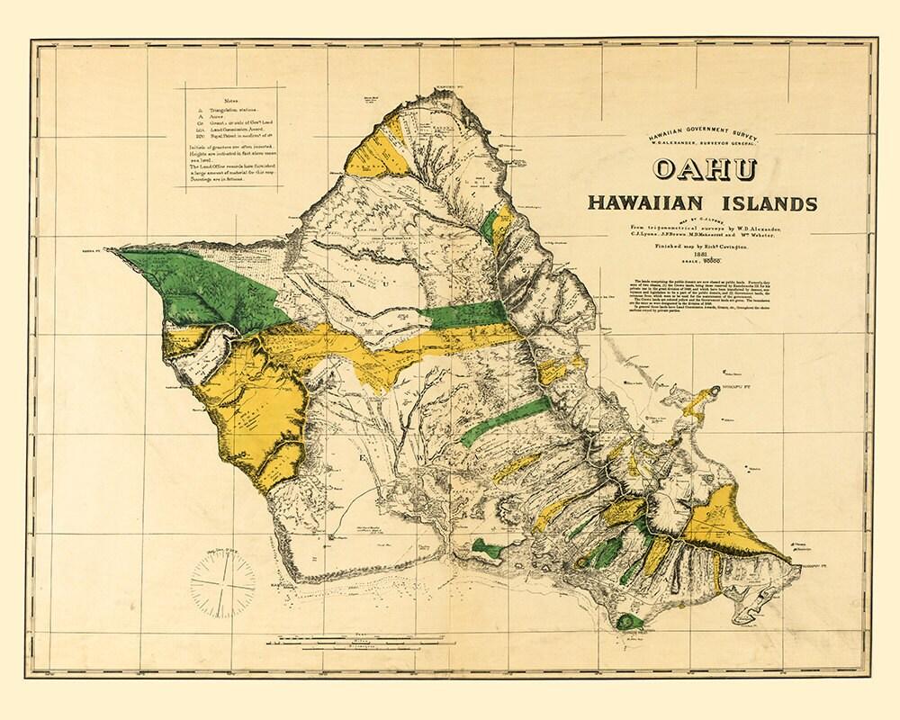 Hawaii Map - Oahu Map Art - Map Decor - Hawaiian Island Map - Hawaii ...