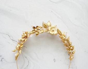 Garden Bridal Crown, Gold Hair Vine, Gold Flower Crown, Leaves Headpiece, Bridal Crown, Gold Floral Head Piece, Wedding Hair