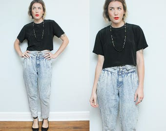 High Waist Denim // Pleated Acid Washed Jeans // 1980s Rio by Stephen Mardon Retro Hipster Blue Jean Pants Size 6 8