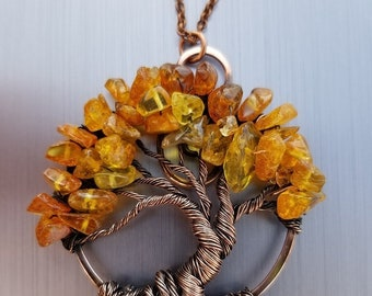 MADE TO ORDER Wire Wrapped Tree of Life Bonsai Pendant Amber Citrine Wire Wrap Handmade Jewelry Beaded Wire Tree Perfectly Twisted Jewelry