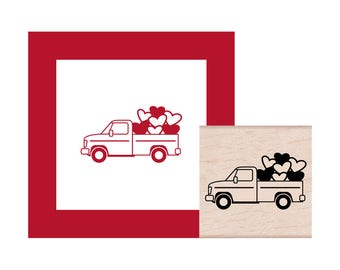 NEW for 2018 Truck filled with hearts Rubber Stamp